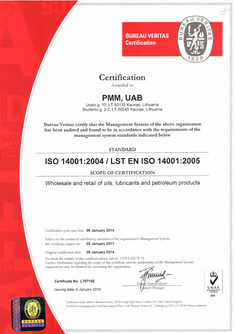 Lubrita International fulfilled ISO 14001:2005 requirements - Lubrita.com